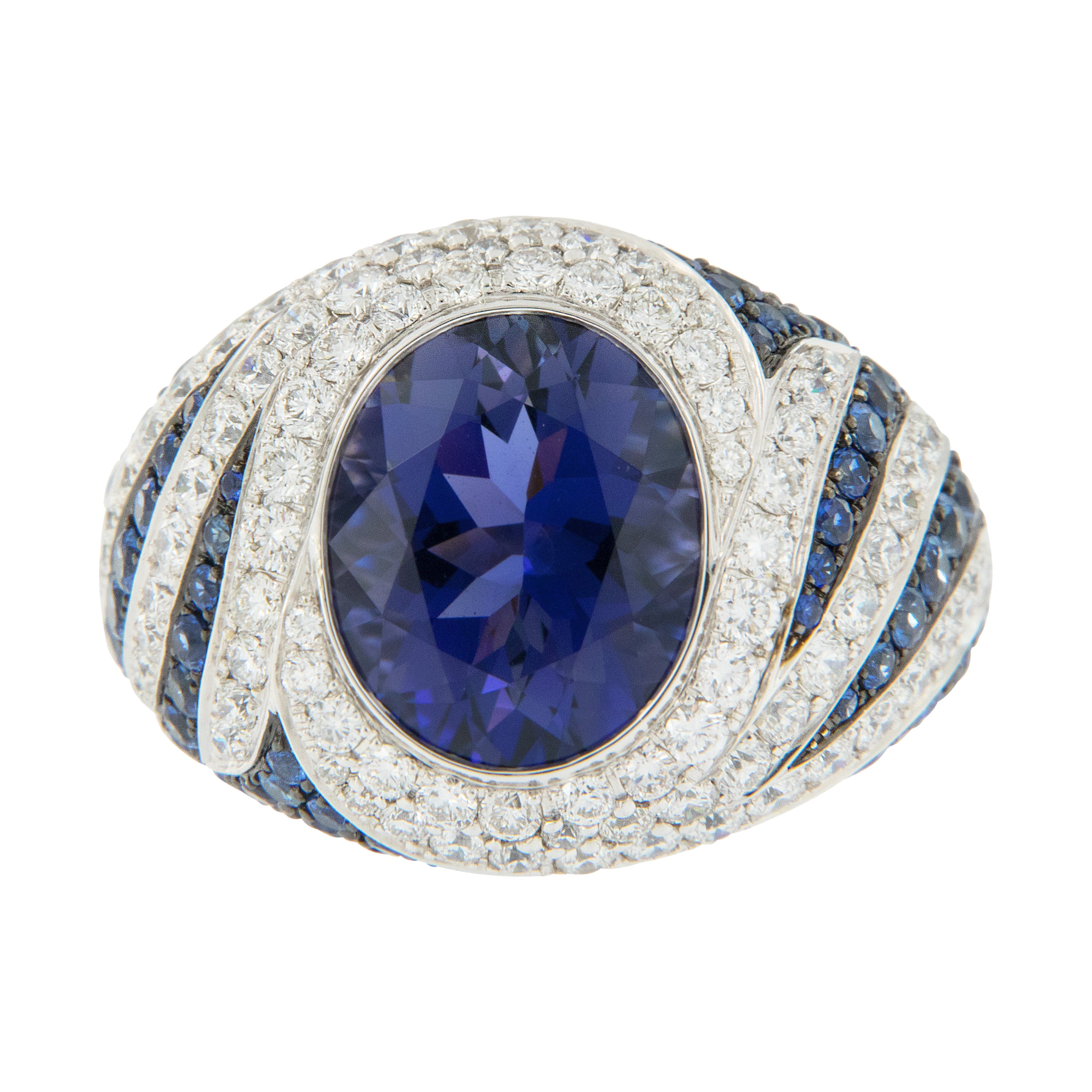 18 Karat White Gold Iolite Sapphire and Diamond Cocktail Ring