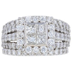 White Gold Diamond Ring and Wedding Bands, 14 Karat Princess 3.30 Carat Halo