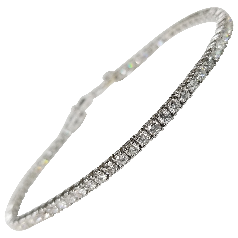 """18 Karat White Gold 4.02 Carat """"Tennis"""" Bracelet"""
