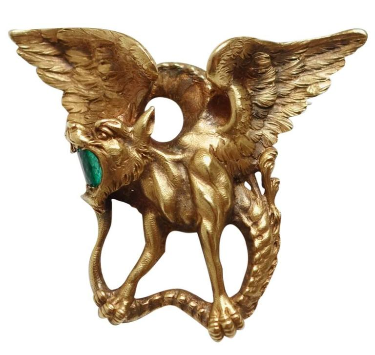 Magnificent Emerald Gold Griffin Brooch  For Sale