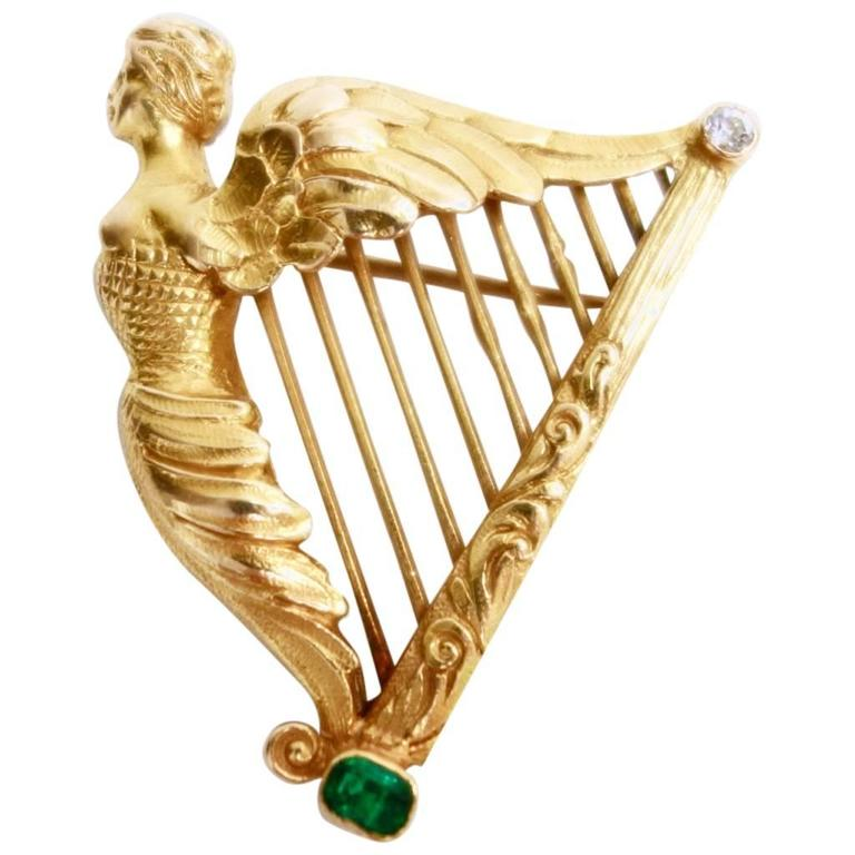 Emerald Diamond Gold Large Coat of Arms of Ireland Harp Brooch 1