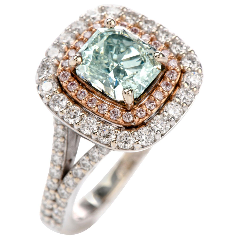 Natural GIA Fancy Green Diamond 18 Karat Halo Engagement Ring