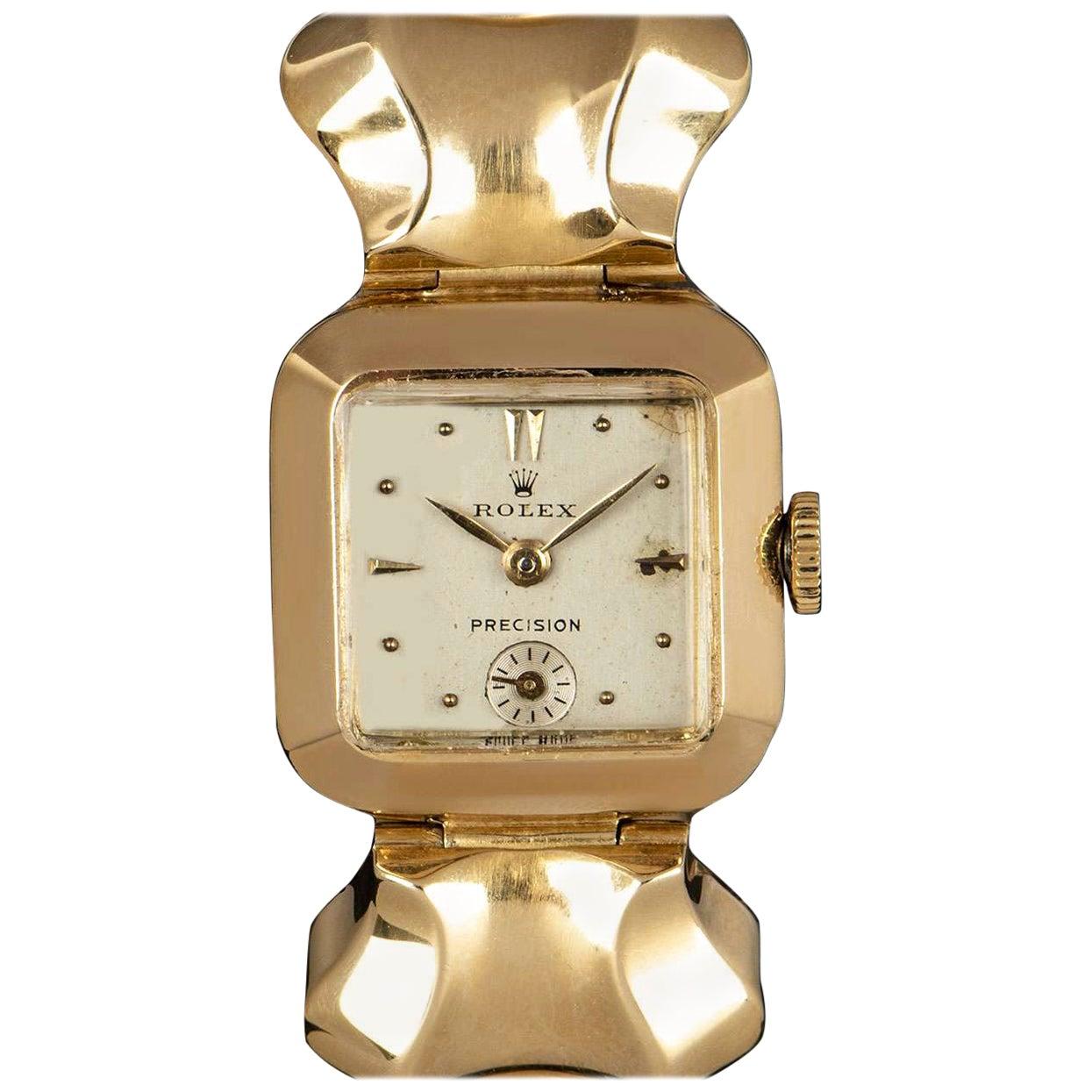 Rolex Vintage Precision Yellow Gold Silver Dial Ladies Wristwatch 1940s