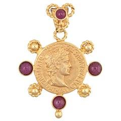 Bust of Caesar Pendant Estate 14 Karat Gold Ruby Fine Etruscan Style Jewelry