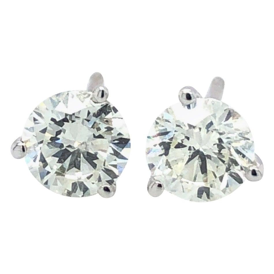 1 Carat Diamond Stud Earrings 14 Karat Gold