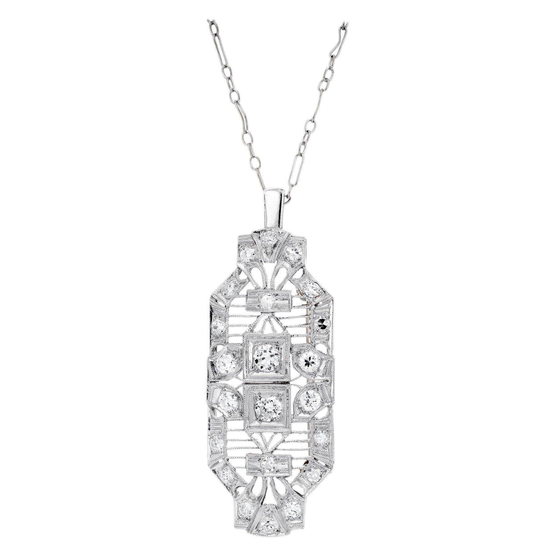 Art Deco 1.04 Carat Diamond Platinum Brooch Pendant Necklace