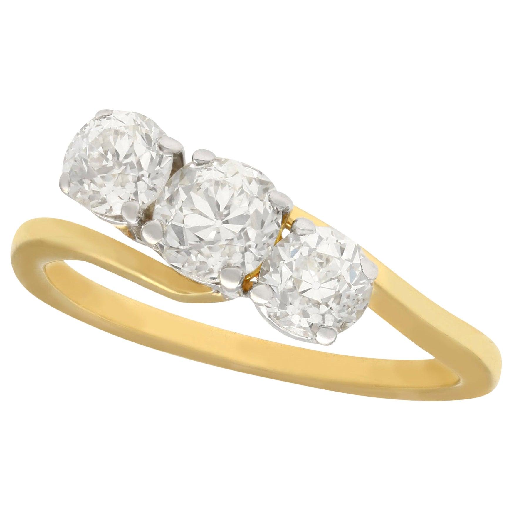 Antique 1900s 2.04 Carat Diamond Yellow Gold Trilogy Ring