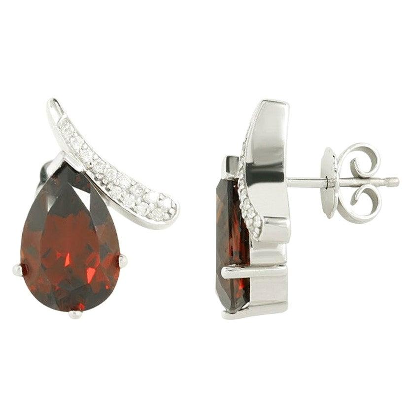Elegant Classic Combination Garnet Diamond White Gold Earrings