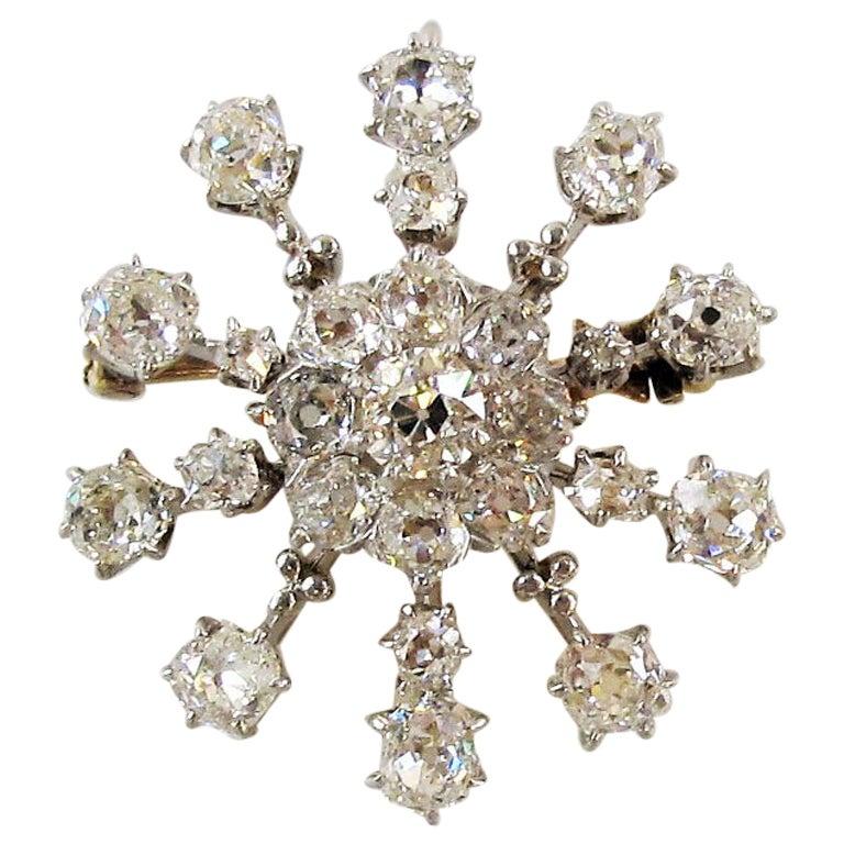 Antique Old Mine Cut Diamond Snowflake Brooch / Pendant Platinum and Yellow Gold