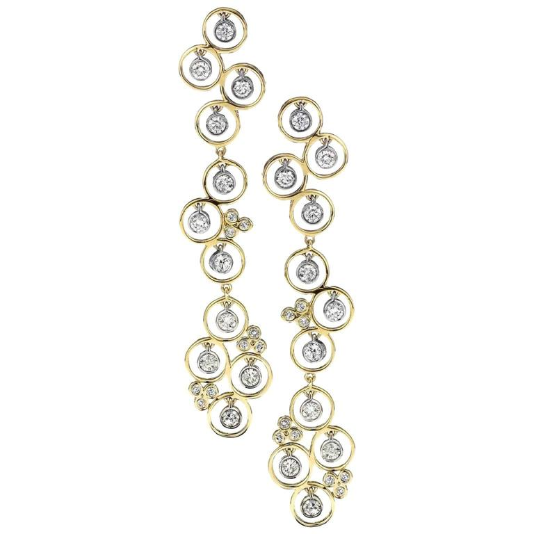 Bezel Set Diamond Gold Drop Earrings