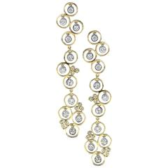Bezel Set Diamond Gold Drop Earrings
