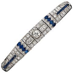 1930s Oscar Heyman Sapphire Diamond Platinum Bracelet