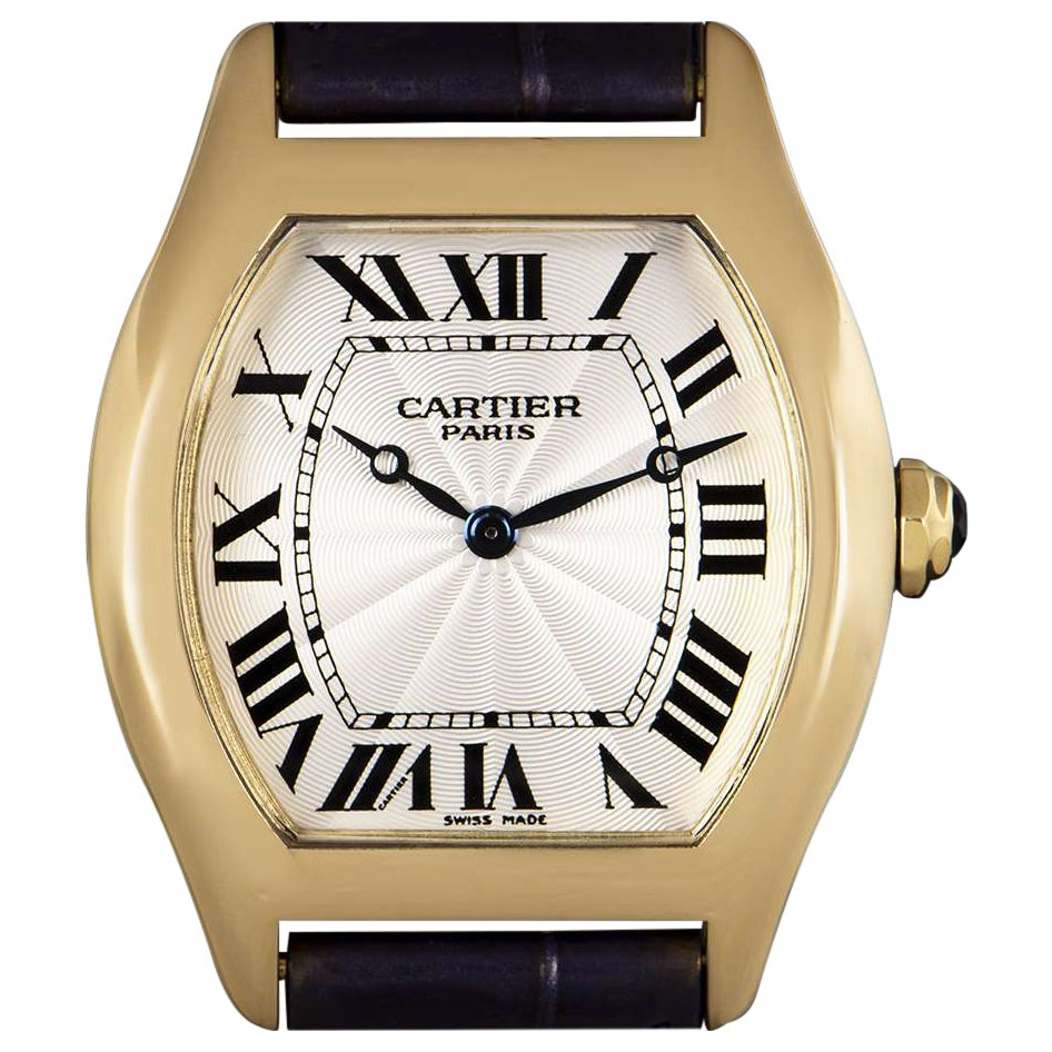 Cartier Tortue Mid-Size Yellow Gold Silver Guilloche Dial Watch
