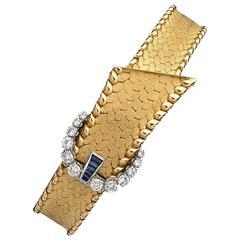 Blancpain Lady's Yellow Gold Diamond Sapphire Wristwatch