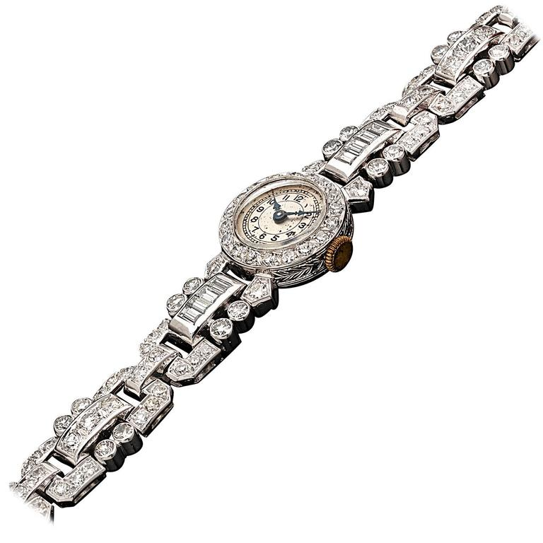 Lady's Platinum Diamond Wristwatch