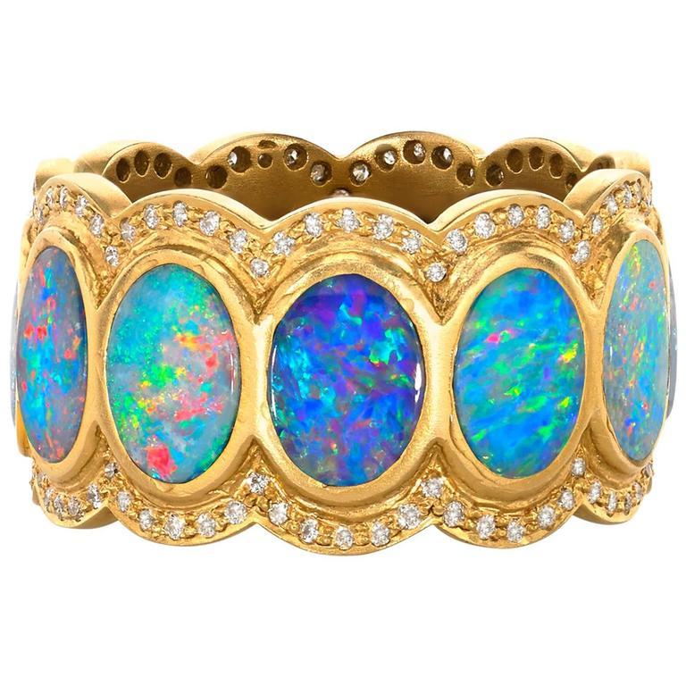 Lauren Harper Boulder Opal Disc Diamond Matte Gold Eternity Band Ring 1