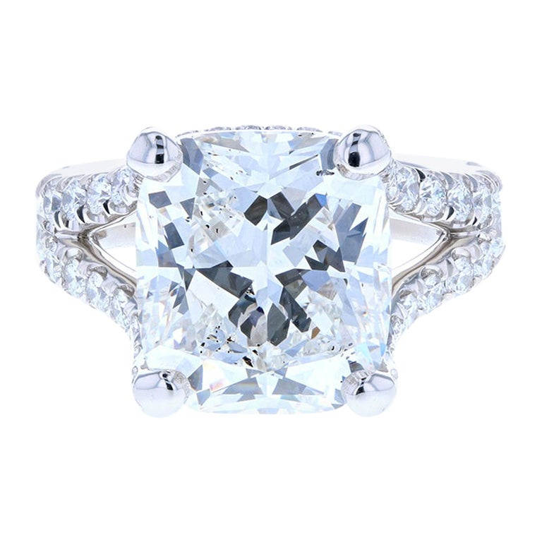 10 Carat Cushion Cut Diamond Engagement Ring Platinum Hidden Halo