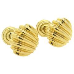 Tiffany & Co. Gold Shell Motif Cufflinks