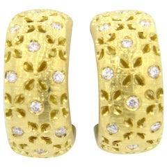 Roberto Coin Granada Diamond Gold Hoop Earrings