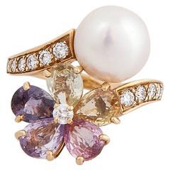 Stunning BULGARI Pearl multi-colored sapphires  Diamond Ring