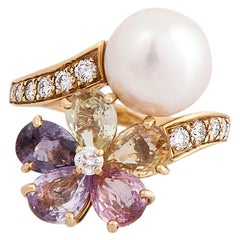 Stunning Bulgari Pearl Multicolored Sapphires Diamond Ring
