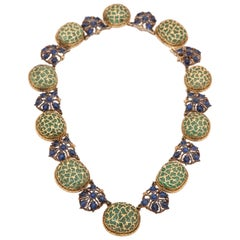 Buccellati Cabochon Emerald Blue Sapphires Gold Beaded Necklace