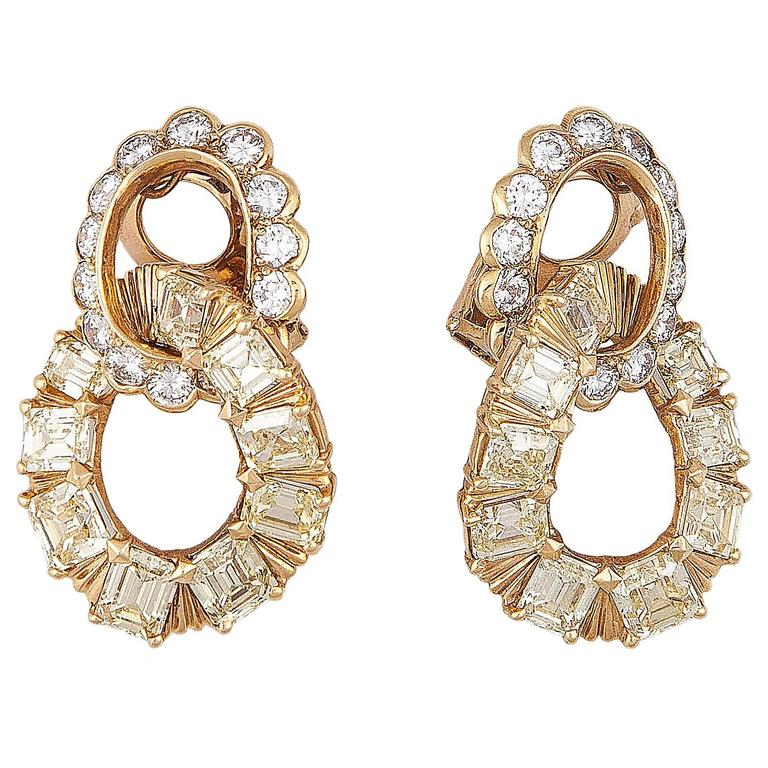Van Cleef & Arpels Yellow and White Diamond Gold Earrings 1
