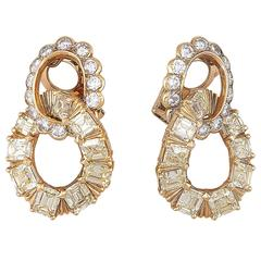 Van Cleef & Arpels Yellow and White Diamond Gold Earrings