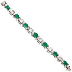 Stunning Raymond Yard Emerald Diamond Platinum Bracelet