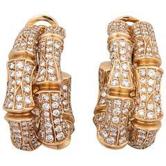 Cartier Stunning Bamboo Diamond Gold link earrings