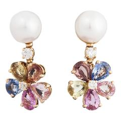 Lovely Bulgari Pearl Multicolored Sapphires and Diamond Earrings