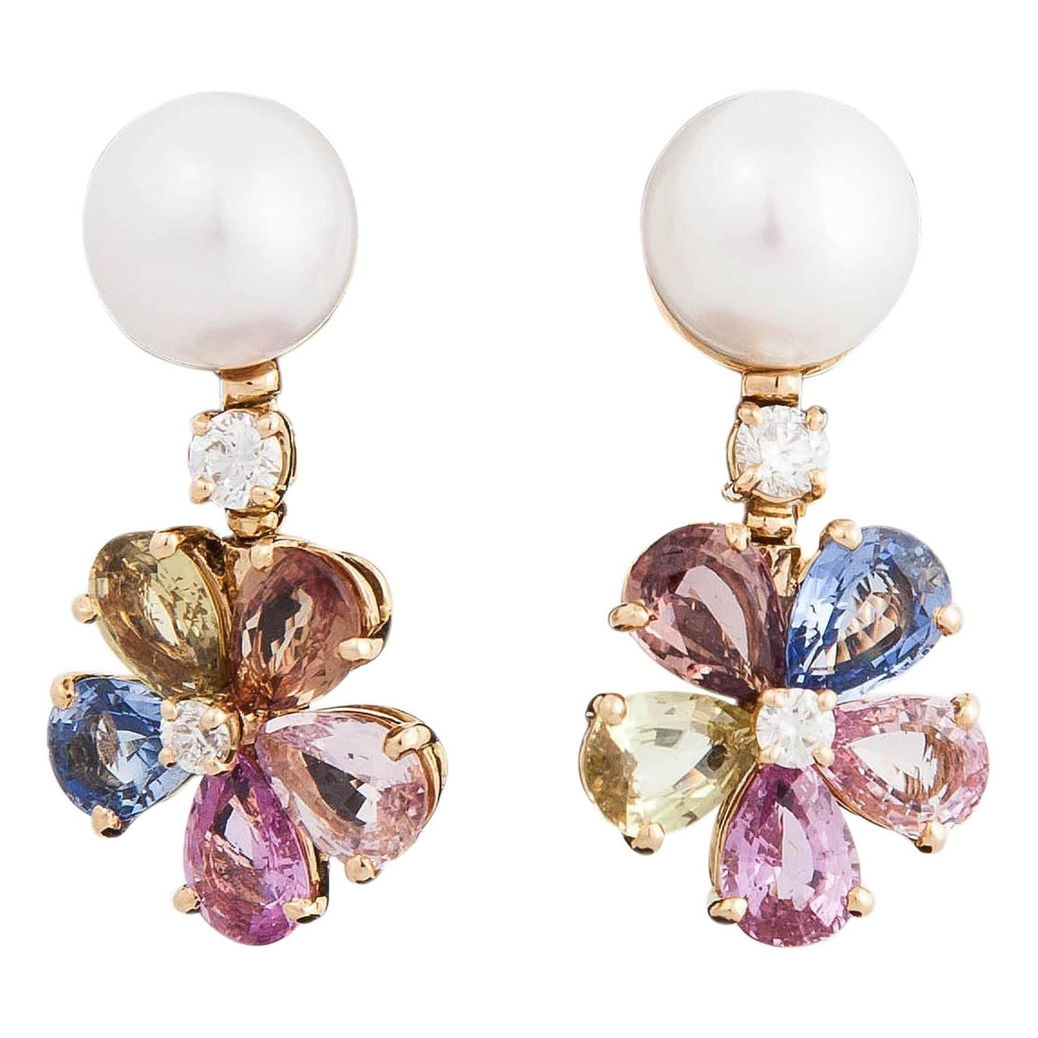 Lovely Bulgari Pearl Multicolored Shires And Diamond Earrings For At 1stdibs