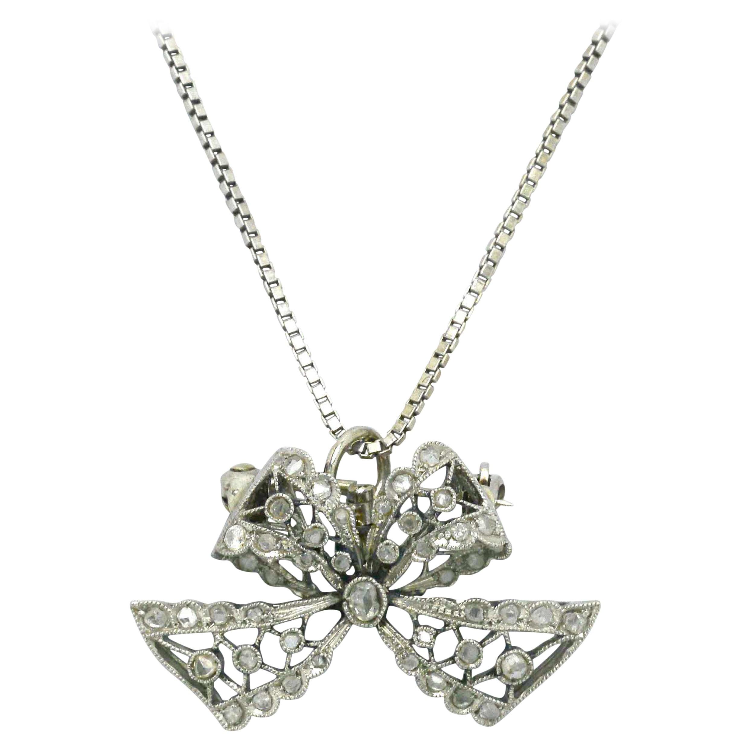 Edwardian Diamond Necklace Bow Pendant Antique Belle Époque Platinum Filigree