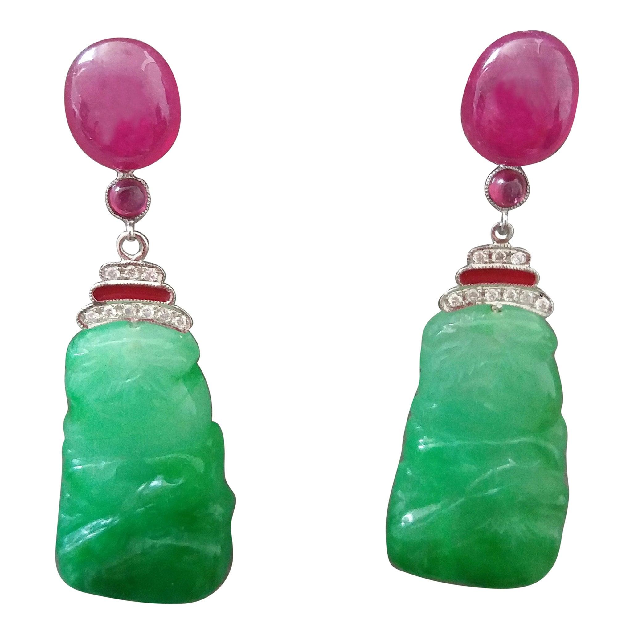 Art Deco Style Jade Ruby Cabs Gold Diamonds Red Enamel Dangle Earrings