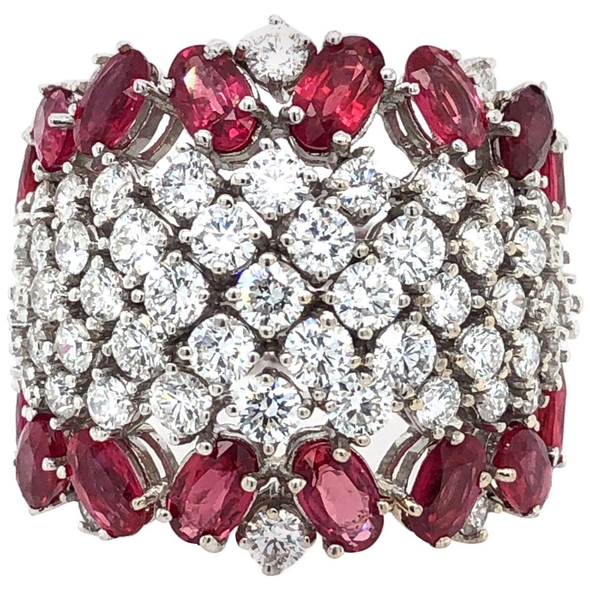 Ruby and Diamond Cocktail Ring 18 Karat