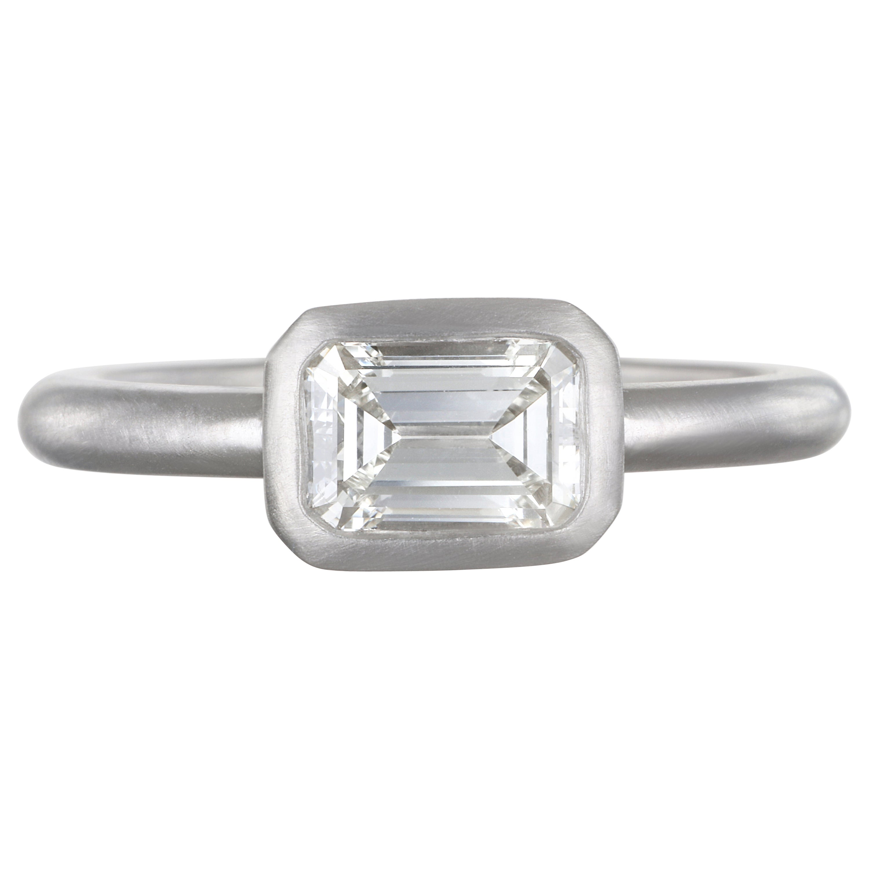 Faye Kim Matte Platinum Diamond Emerald Cut Diamond Ring