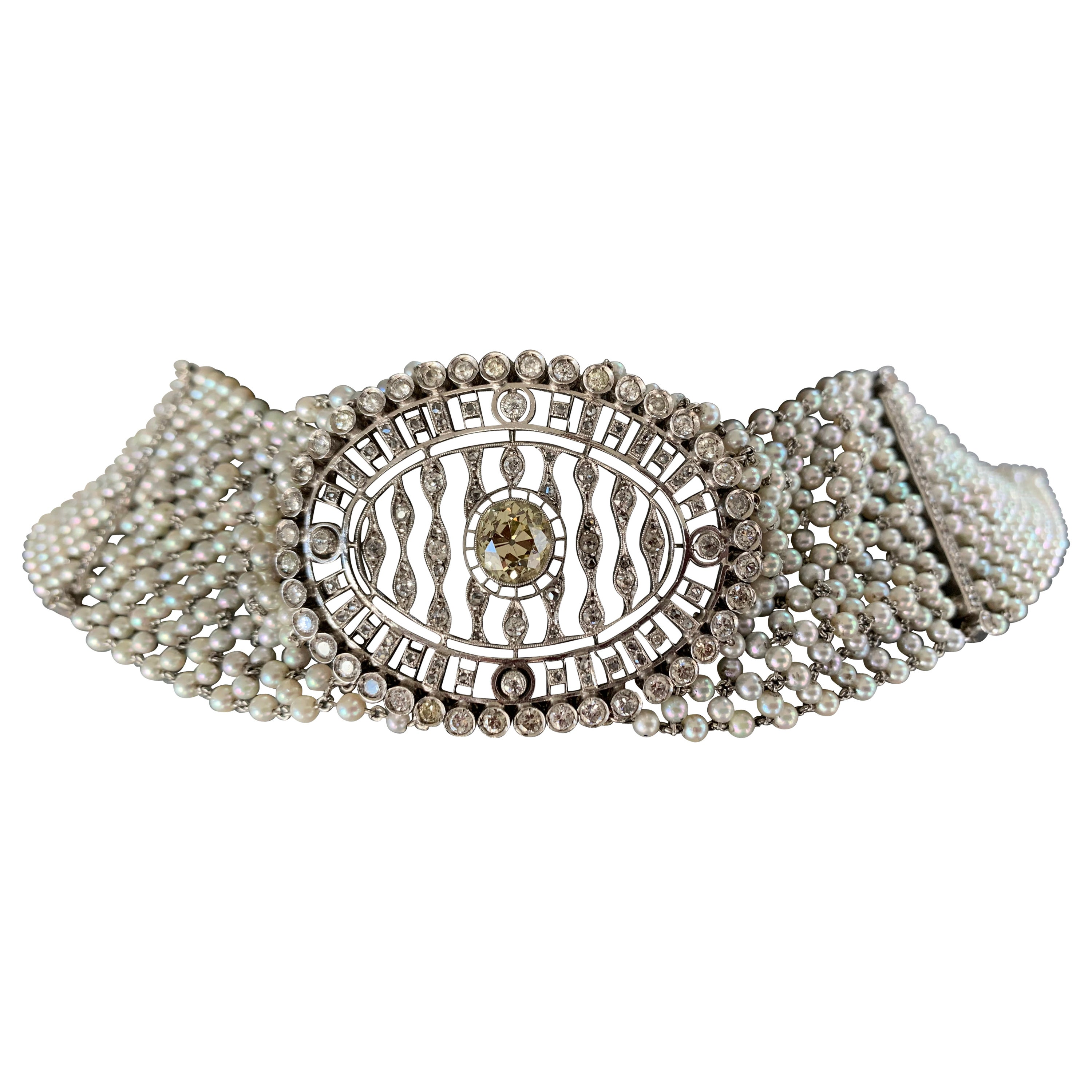 Diamond and Pearl Choker Necklace