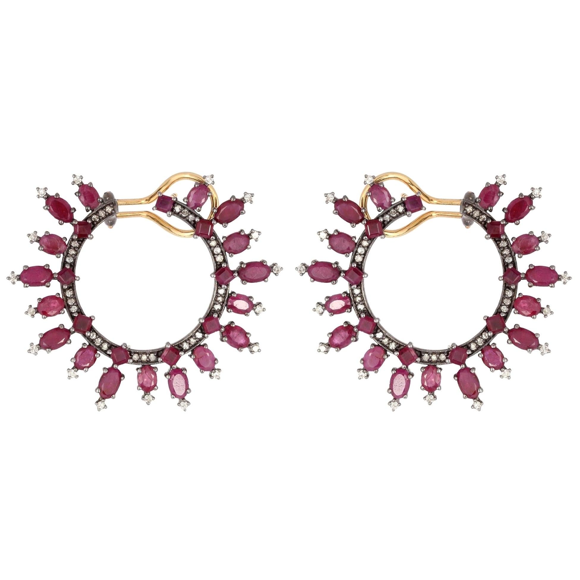 10.9 Carat Ruby Hoop Diamond Earrings