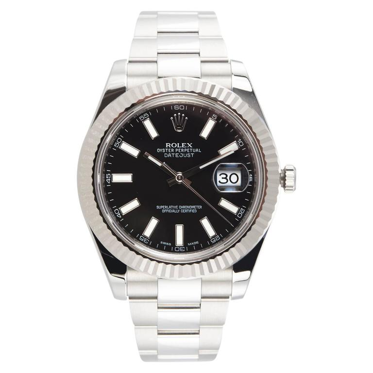 Rolex Stainless Steel Gold Fluted bezel DateJust II Wristwatch Ref 116334 For Sale
