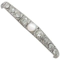 5.61 Carat Diamond and Pearl, 18 Karat White Gold Bracelet, Antique, circa 1900
