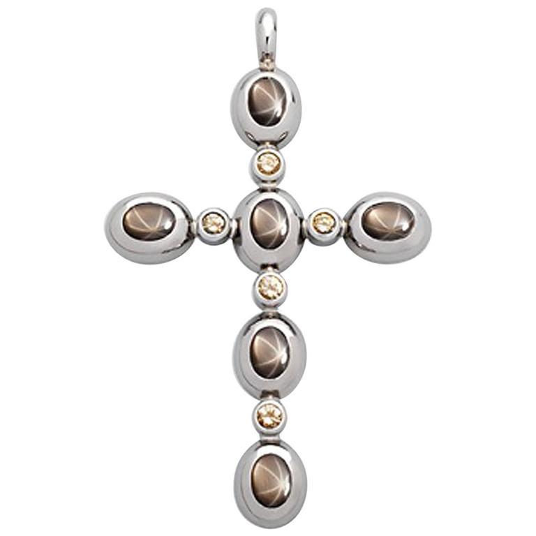 star sapphire diamond gold cross pendant