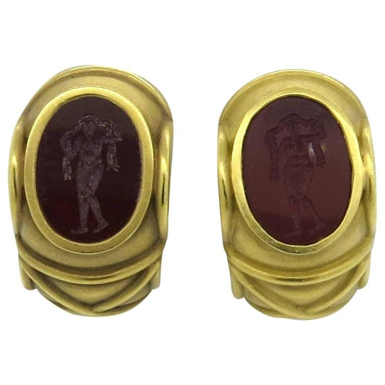 Barry Kieselstein Cord Carnelian Intaglio Gold Earrings