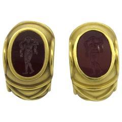 Barry Kieselstein Cord Carnelian Intaglio Gold Earrings