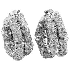 Cartier Bamboo White Gold Diamond Pave Clip-On Earrings