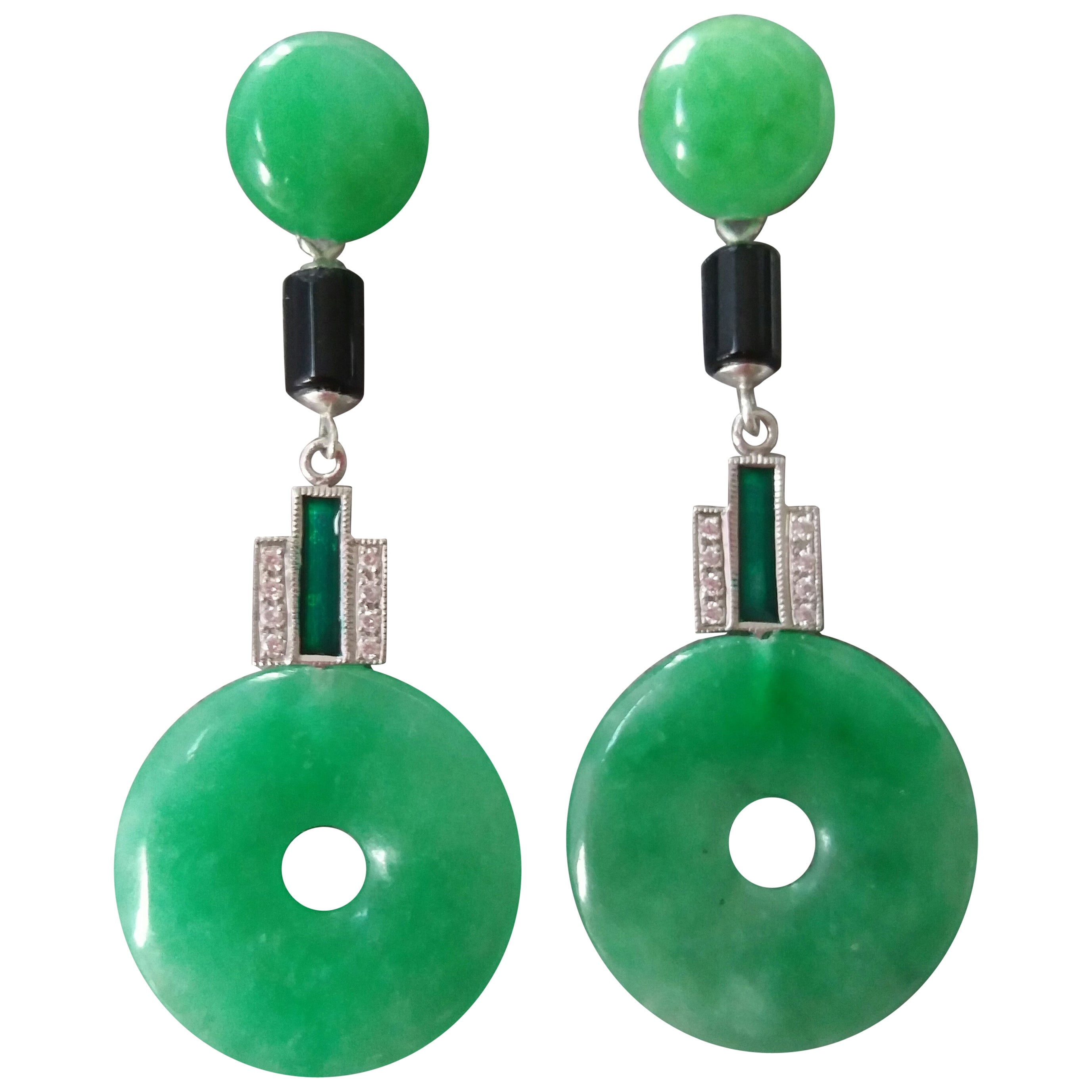 Art Deco Style Jade Gold Diamonds Black Onyx Green Enamel Dangle Earrings