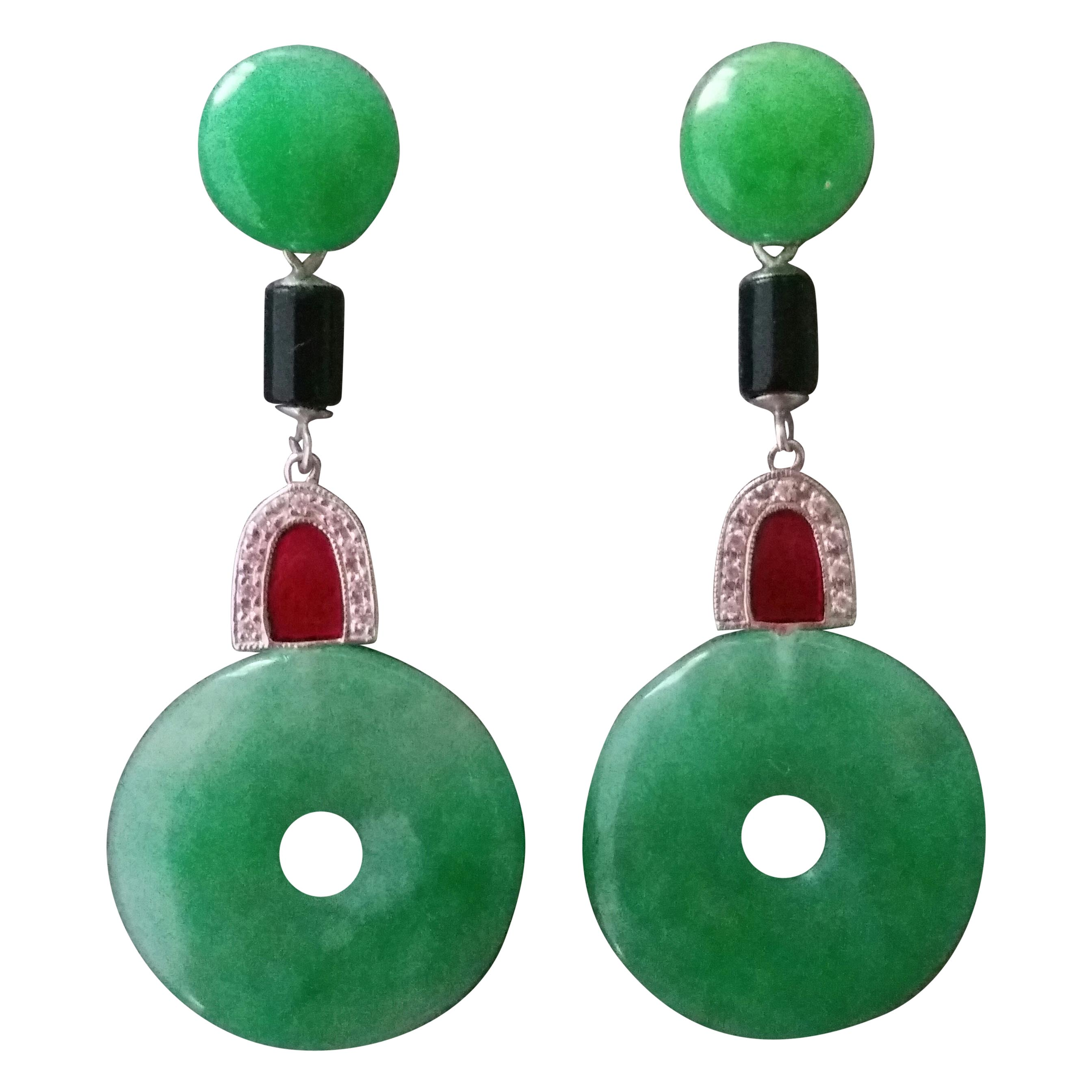 Art Deco Style Jade Donuts Gold Diamonds Black Onix Red Enamel Dangle Earrings