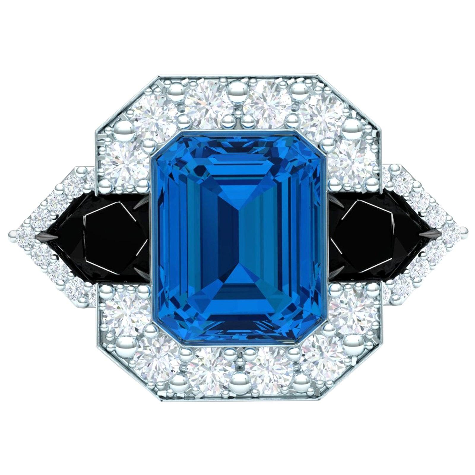 4 Carat Blue Topaz Onyx and Diamond Platinum Cocktail Ring