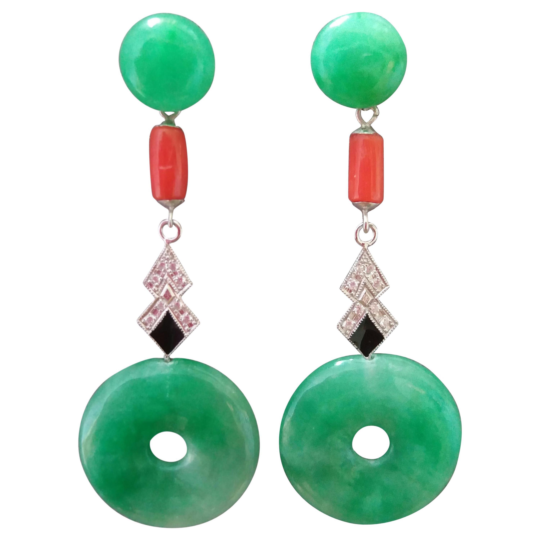 Art Deco Style Jade Donuts Coral Gold Diamonds Black Enamel Dangle Earrings