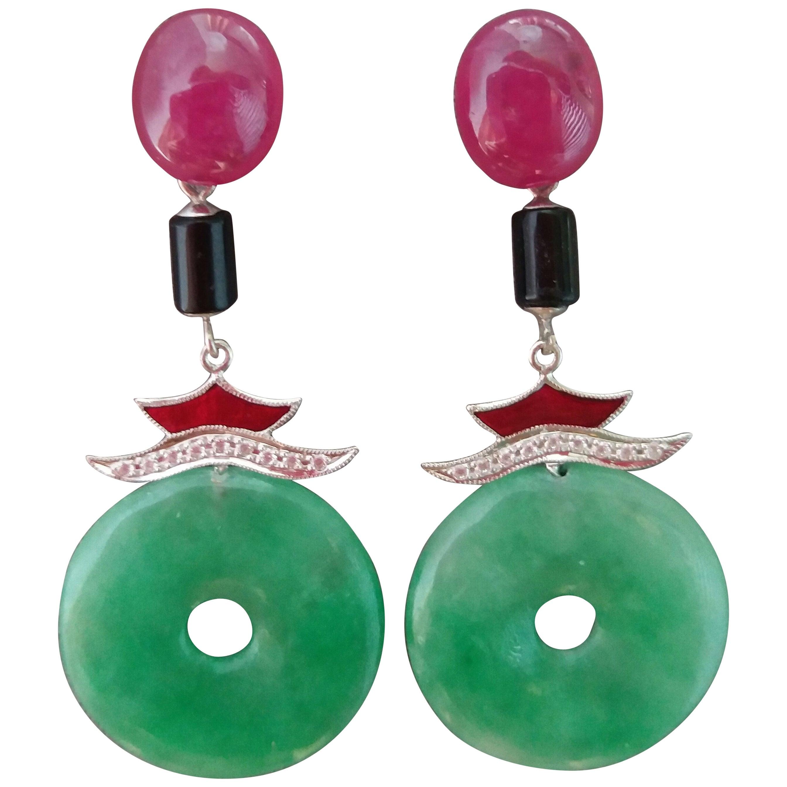Art Deco Style Jade Ruby Gold Diamonds Red Enamel Black Onyx Dangle Earrings
