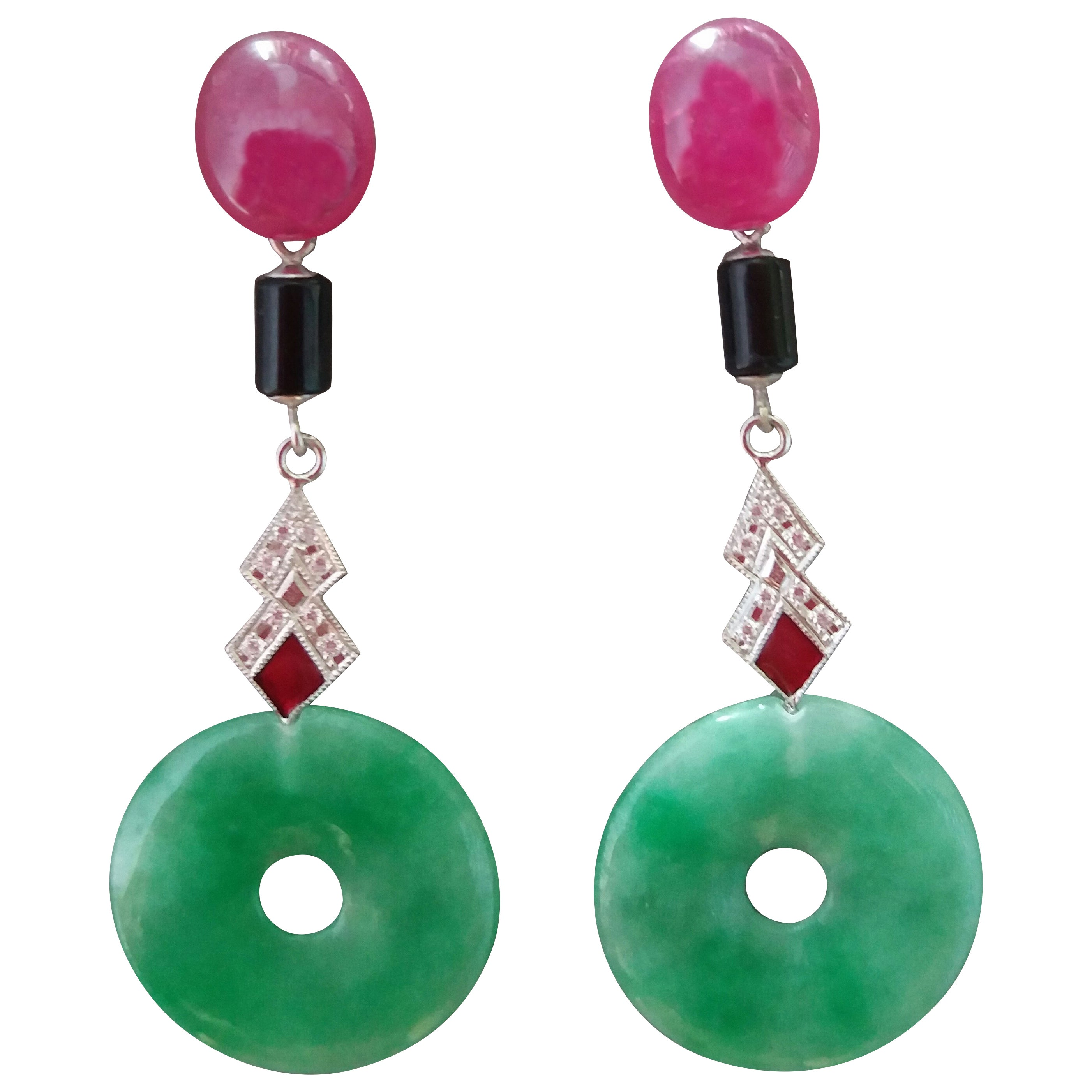 Art Deco Style Jade Ruby Black Onyx Gold Diamonds Red Enamel Dangle Earrings